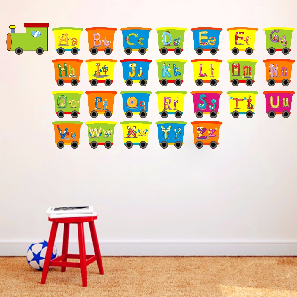 Alphabet Train Engine Learning Decal Vinyl Sticker For Kids Bedroom Removable Wallpaper Home Decor Wall Art Mural Christmas Gift Wall Stickers Aliexpress