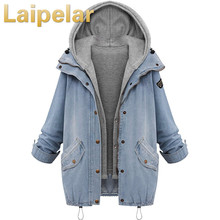 Women Autumn Denim Jacket Jackets Loose Hooded Tops Cowboy Two Coat Plus Size 4XL Laipelar Outwear