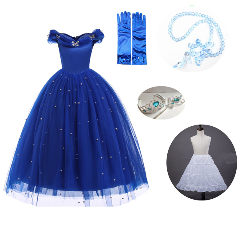 2018 Girls Princess Cinderella Dress up Kids shoulderless Party Dresses with Bead Halloween Cosplay Costume Pageant