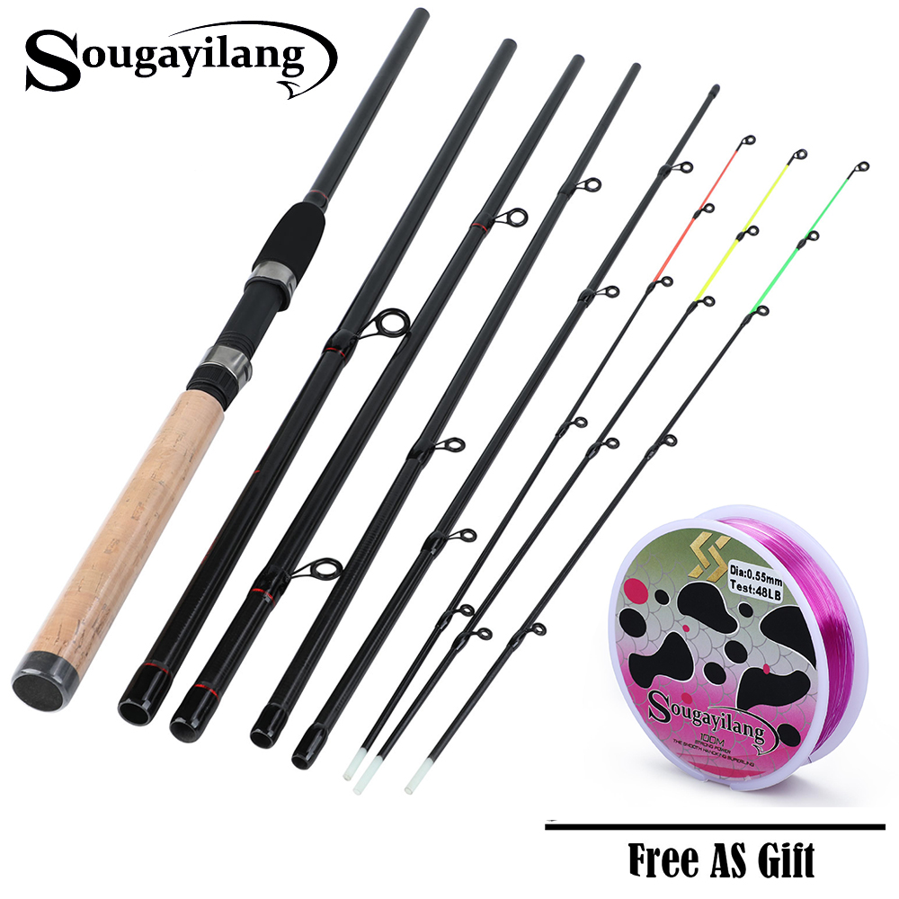 Sougayilang Feeder Rod Fishing Rod Ultralight Weight 6 Section  Carbon Spinning Travel Rod Carp Fishing Tackle De PescaSougayilang Feeder Rod Fishing Rod Ultralight Weight 6 Section  Carbon Spinning Travel Rod Carp Fishing Tackle De Pesca