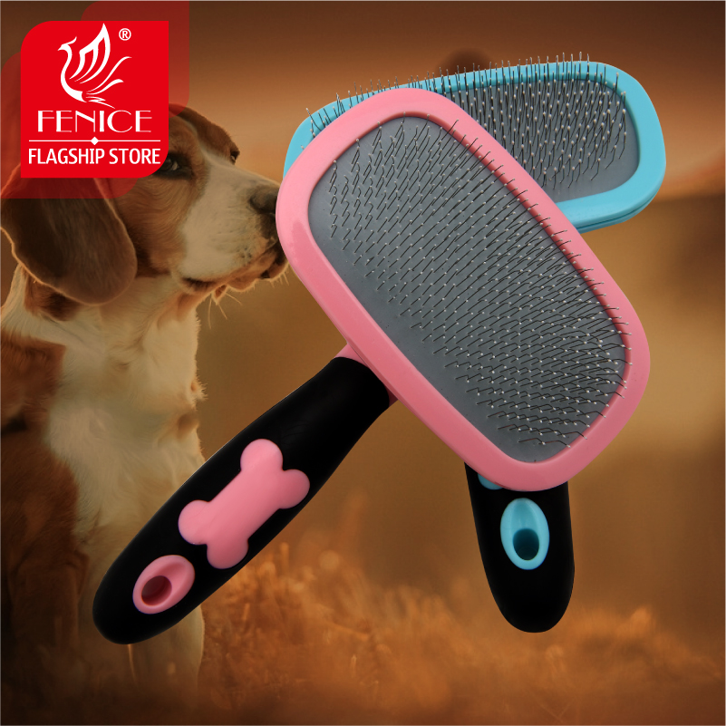 High quality pet grooming comb  soft thin pin massaging beauty 360 degree rotaton anti-slip handle
