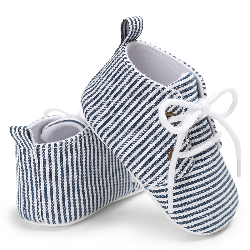 Newborn Infant Baby Canva Kids Girls Boys Stripped Crib First Walk Shoes Sneaker ...
