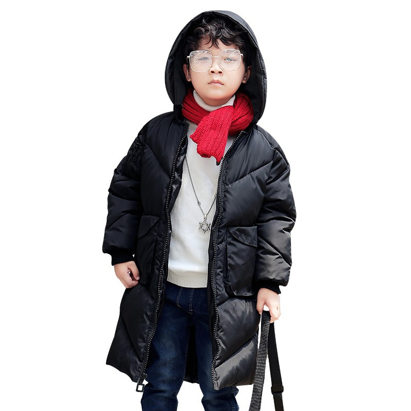 2018 New Boys Girls Autumn Winter Long Coat Kids School Hooded Jacket Fashion Casual Cotton Down Solid Color Winter Clothes матрас lineaflex debora 160x185