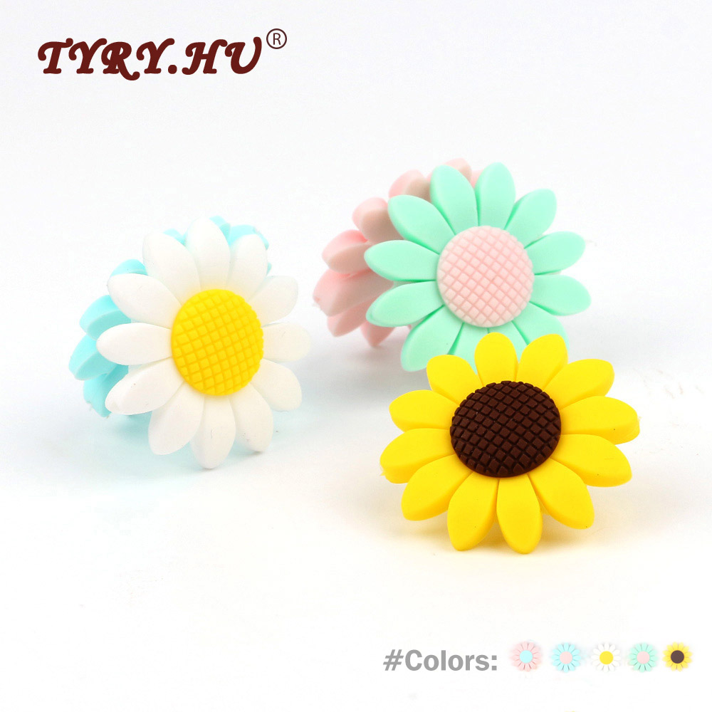 TYRY.HU 5Pcs Sunflower Silicone Teether Beads Food Grade Baby Teething Nursing Toys Baby Girl DIY Pacifier Clips Natural Gift