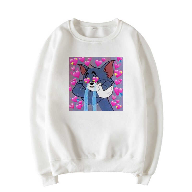 Cat Winter New Letter Mouse Print Sweatshirt Female Harajuku Long Sleeve Loose Cartoon Spoof Funny Casual Sweatshirt