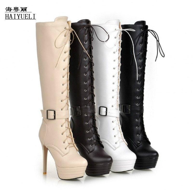 Women Shoes Fashion Sexy Knee-high Boots Lace Up High Heels Shoes Women's Boots jialuowei women sexy fashion shoes lace up knee high thin high heel platform thigh high boots pointed stiletto zip leather boots