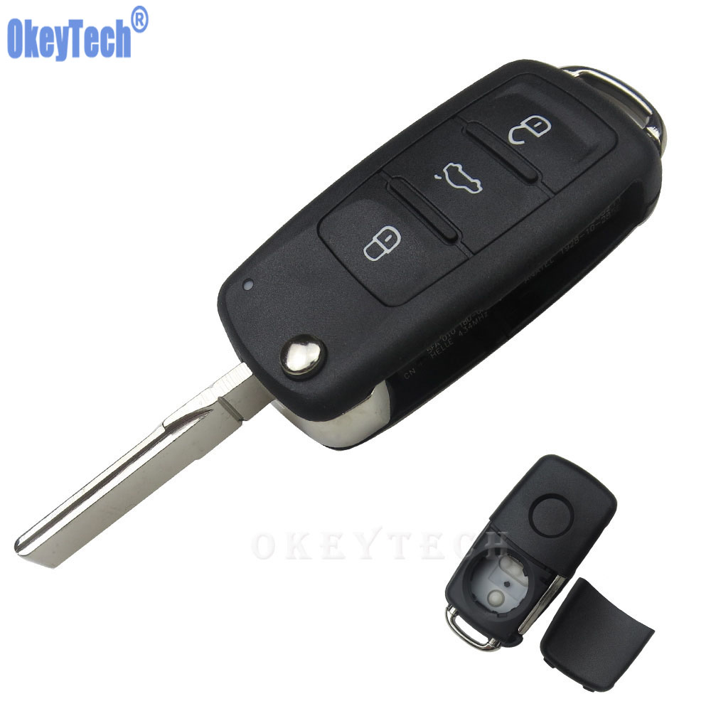 OkeyTech 3 Buttons Flip Remote Car Key Case Shell For Volkswagen VW Jetta Golf Passat Beetle Polo Bora Uncut Blade Blank Key Fob