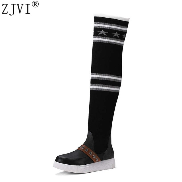 a8f0bb85ae8 ZJVI women over the knee boots woman autumn winter thigh high boots ladies  wool socks warm plush 2018 black gray flat shoes