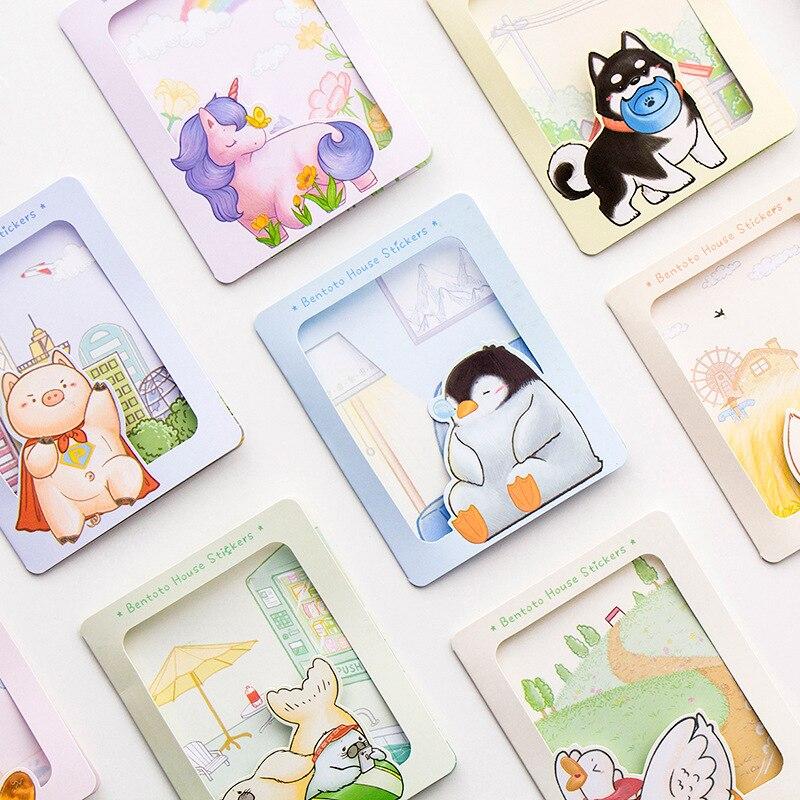 40pcs/Pack Cute Animals Series Penguin Shiba Inu DIY Adhesive Decorative Sticker Computer Decor School Student Stationery