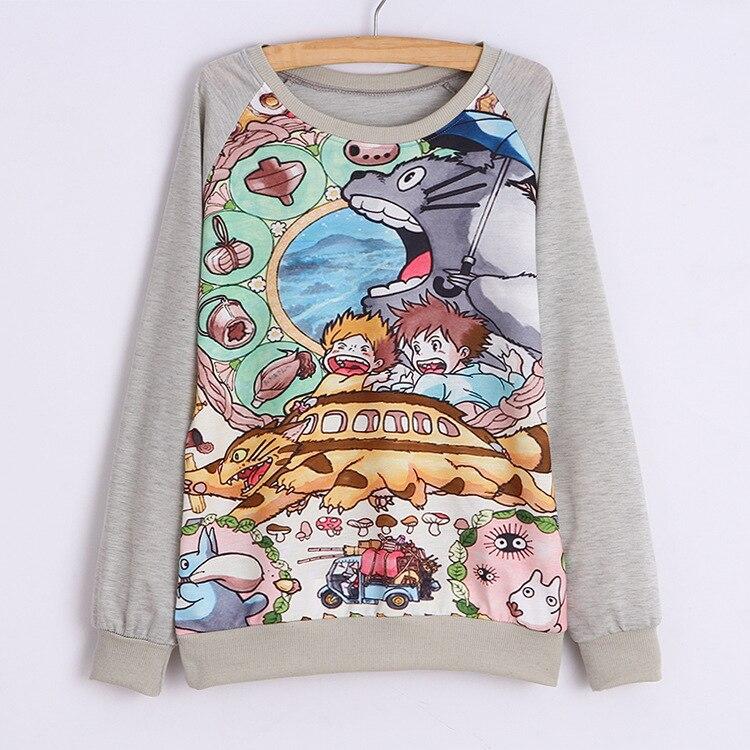 Women Tops Anime Totoro long sleeve T-Shirt Fashion Casual Tank Top Basic Tee
