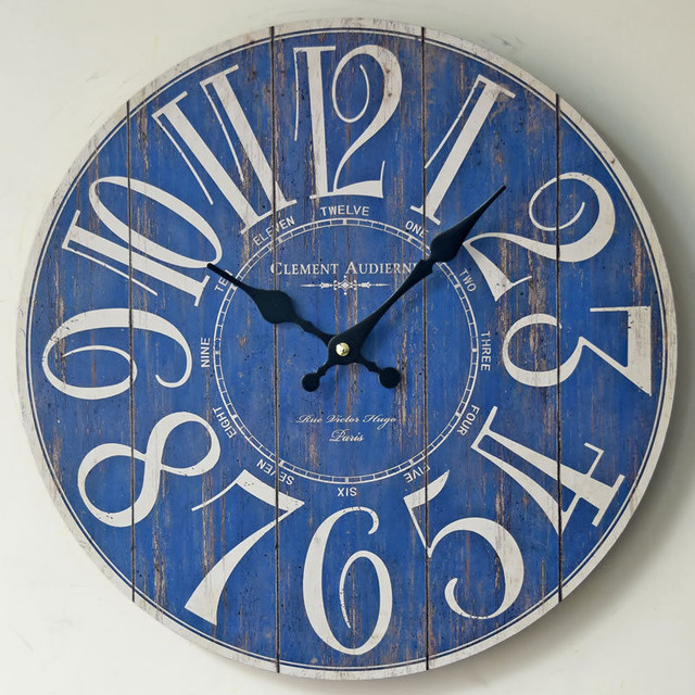 blue kitchen wall clocks cheapest place to buy cabinets 2017 cover round number clock home livingroom decoration saat needle display design