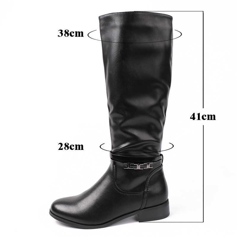 AIMEIGAO Moda Bayanlar Diz Yüksek Kışlık Botlar Yumuşak Deri Çizmeler Kadın Siyah Zip Sıcak Kürk Kadın Uyluk Yüksek Çizmeler Ayakkabı