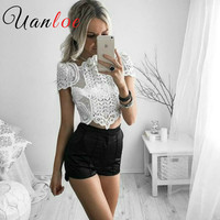 UANLOE New Arrival 2016 Summer Elegant White Crochet Lace Crop Top Short Sleeve Hollow Out Camisole
