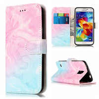 Wallet Leather Case For Samsung Galaxy S5 Flip Case Colorful Marble Pattern Cover for Samsung S5 Case With Card Slot