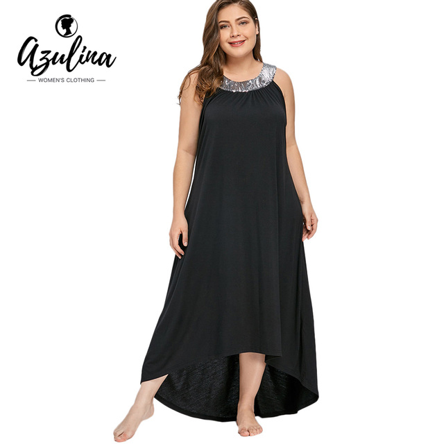 1a2290f6320 AZULINA Plus Size 5XL Sequins Collar Sleeveless Maxi Dress Women Summer  Elegant Black Asymmetrical Dress Vestidos Woman Clothes