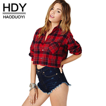 HDY Haoduoyi 2017 Summer Women Fashion Red Plaid Long sleeve Crop Tops Shirts Retro Sexy Long Sleeve Blouse Women Clothing