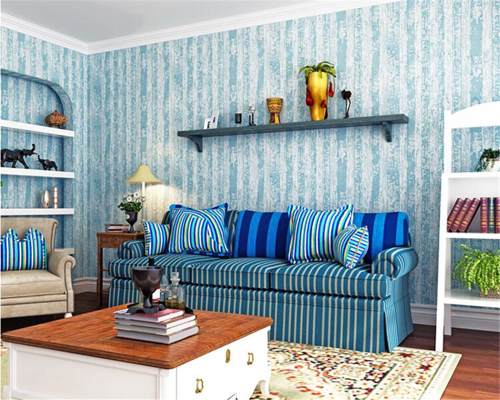 beibehang Vintage blue Mediterranean nonwoven fashion wall paper nostalgic wood grain bedroom living room tv striped wallpaper beibehang mediterranean blue striped 3d