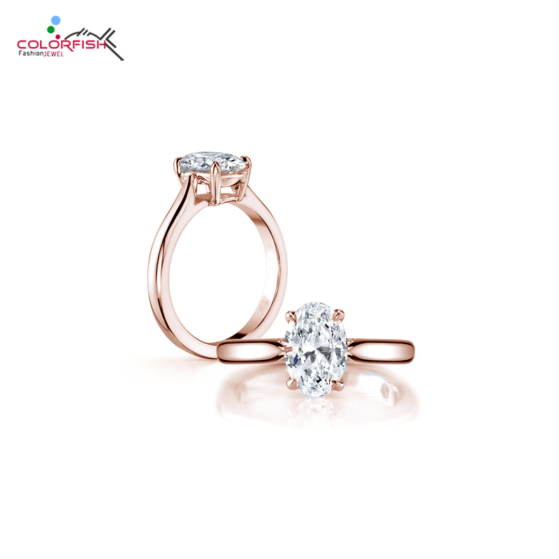 COLORFISH Brand Luxury Solitaire Engagement Ring Solid 925 Sterling Silver Rose Gold Filled 2 Carat Oval Sona Rings For Women недорого