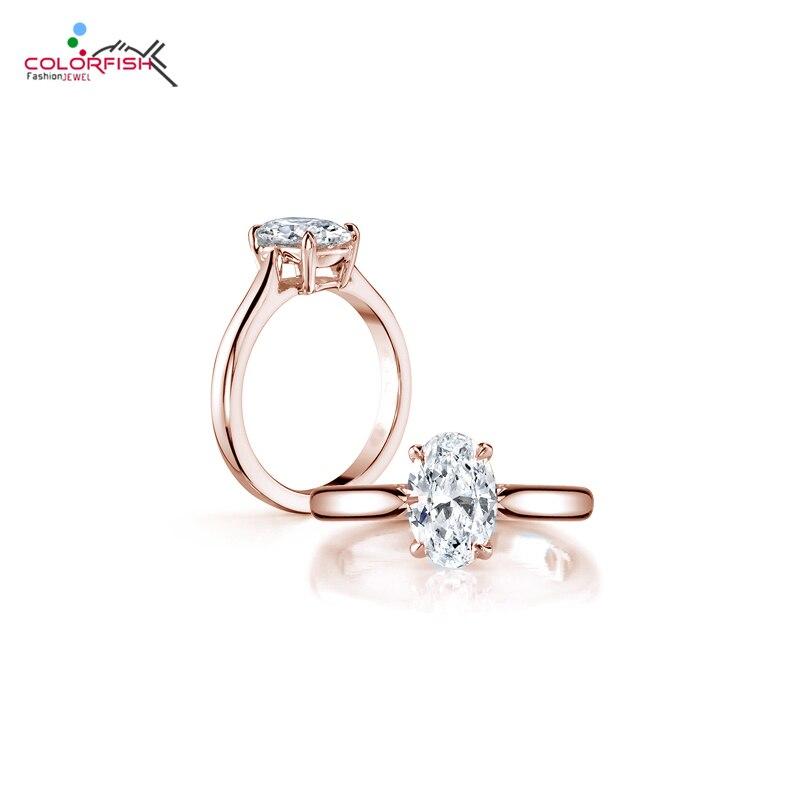 COLORFISH marque de luxe Solitaire bague de fiançailles solide 925 en argent Sterling Rose or rempli 2 carats ovale Sona anneaux pour les femmes