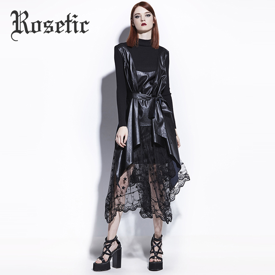 Rosetic Knitted Swearter Women Gothic Stand Collar Long Sleeve Black Patchwork PU Leather Asymmetric Lace-Up Sashes Bow Sweaters ...