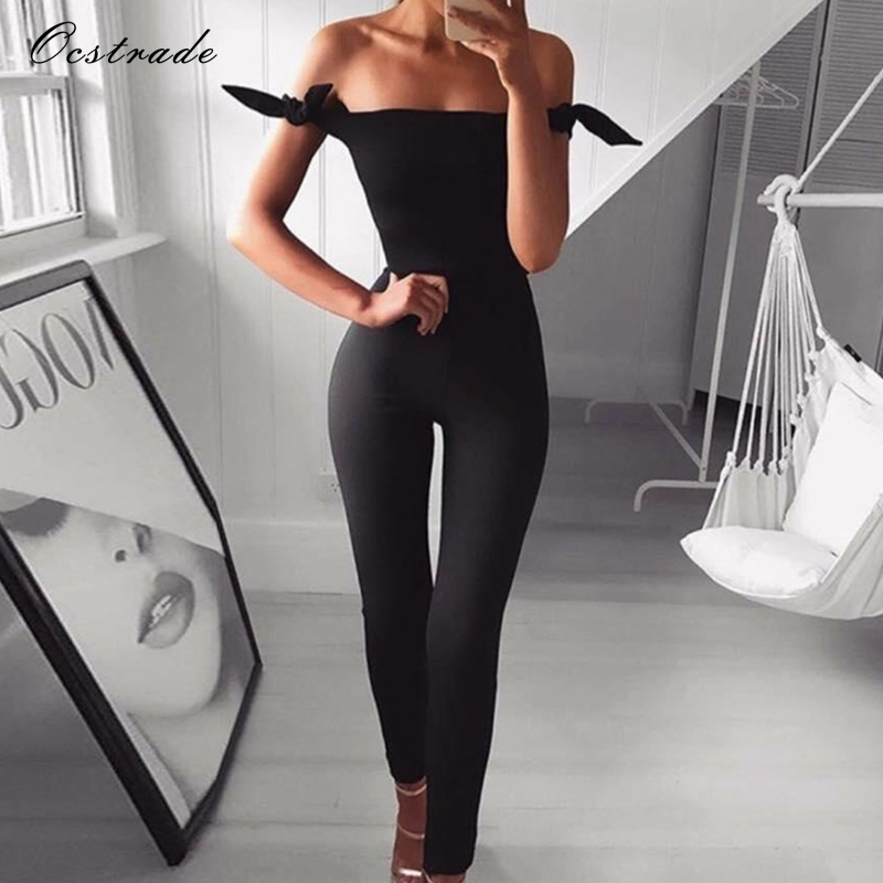 Ocstrade Bandage Jumpsuit 2019 New Arrivals Sexy Black Off the Shoulder Bodycon Bandage Jumpsuits Spandex for