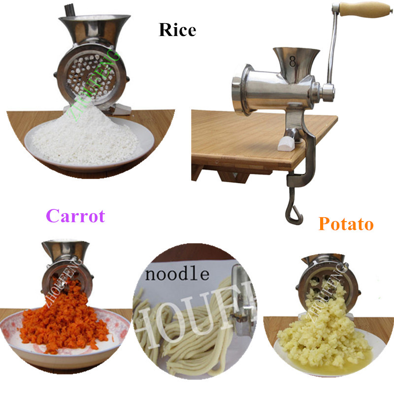 Фотография Small hand operated manual meat grinder rice carrot pepper potato extruder noodle making machine