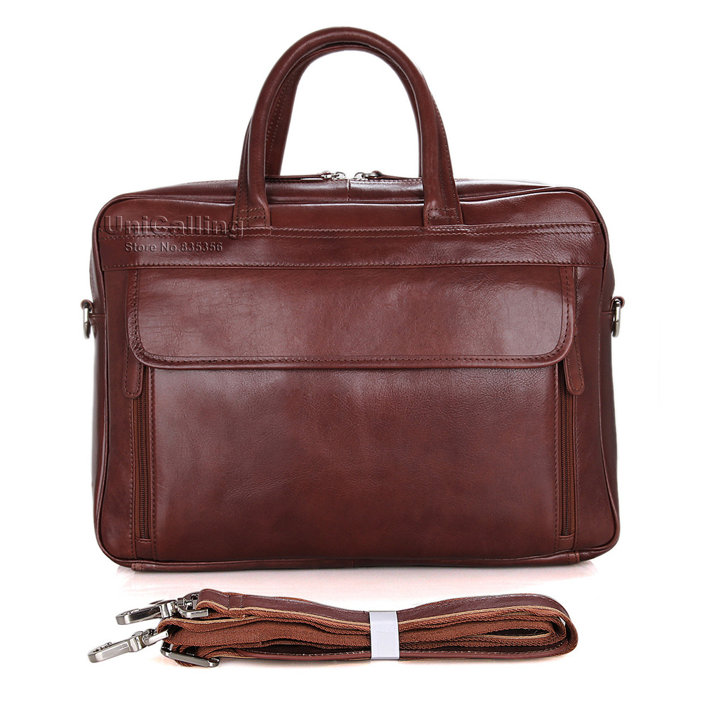 UniCalling quality large capacity font b men b font leather handbag male genuine leather business 15