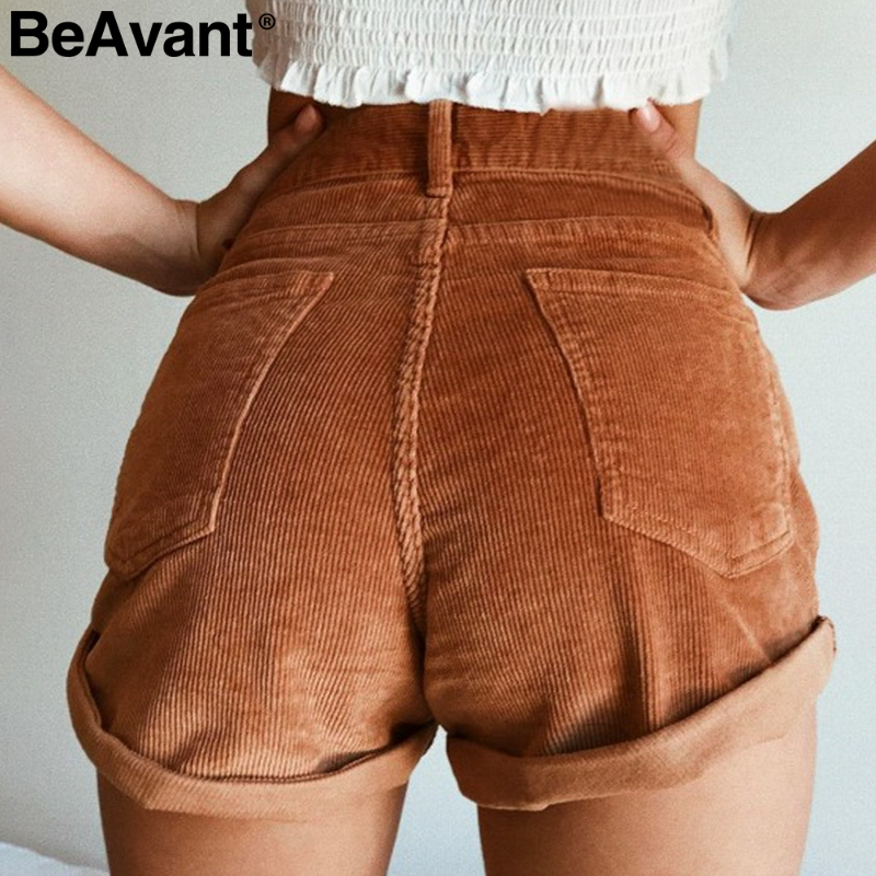 BeAvant High waist corduroy casual   shorts   women Zipper pockets summer   shorts   female Streetwear loose cotton hot   shorts   2019