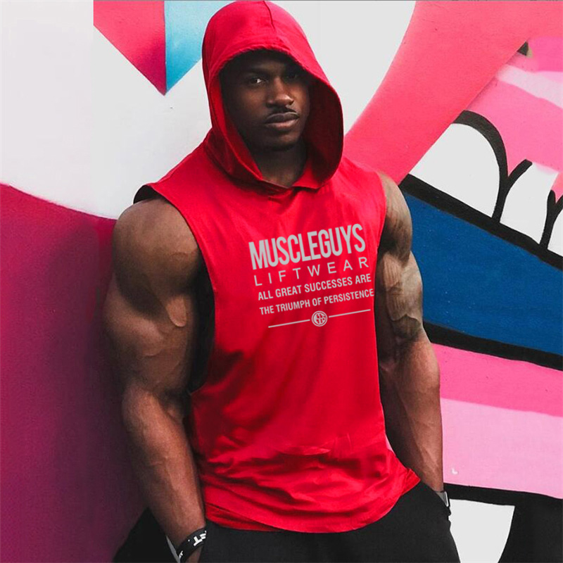 Muscleguys Liftwear Sleeveless Shirt with hoody Brand Gyms Clothing Fitness Men Bodybuilding stringers   tank     tops   singlets