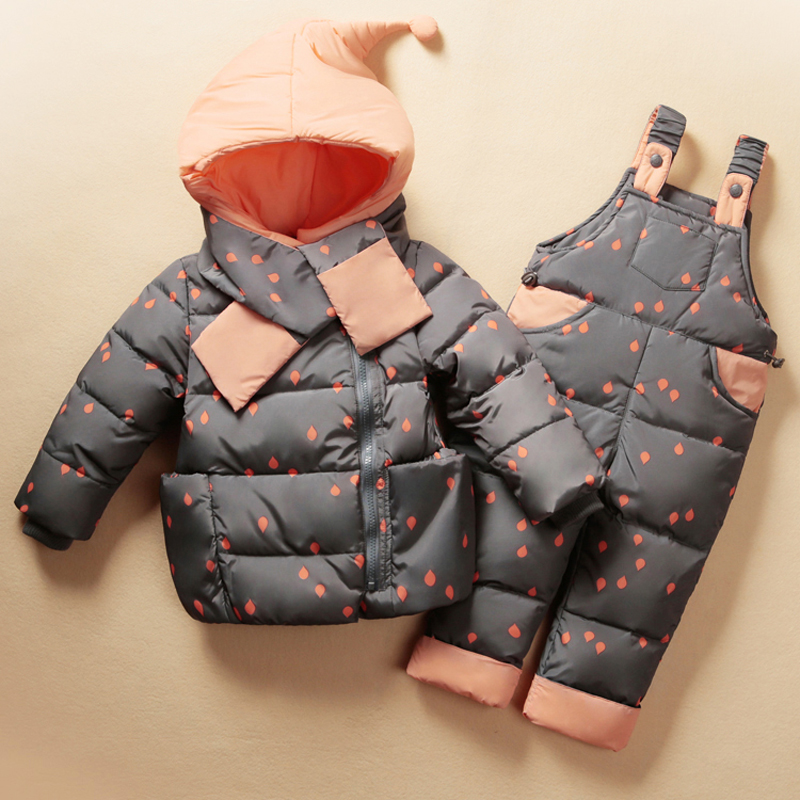 2018 New baby winter down clothing set jacket for boys girls baby clothes suits hooded kids down+pant Waterproof Snowsuit цена