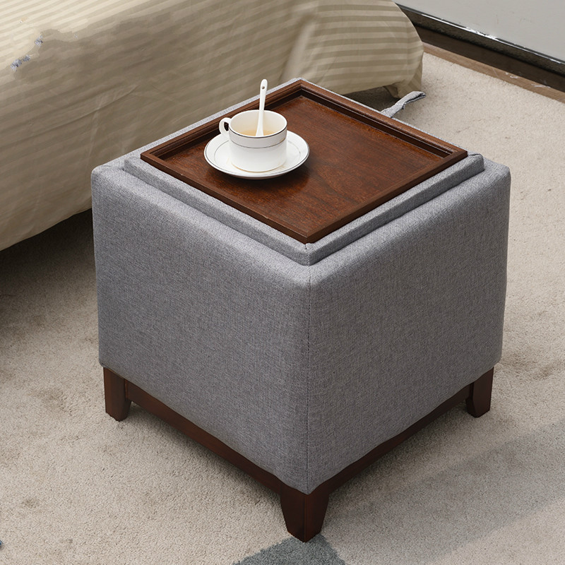 Coffee Table Solid Wood Footstool Home Living Room Storage Stool Creative Multifunctional Fabric Change Shoes Stool Storage Stoo Stools Ottomans Aliexpress