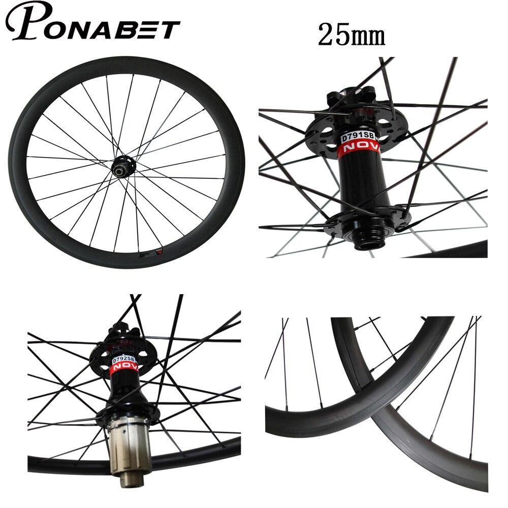 PONABET 25mm width 700C 38mm 50mm 60mm 88mm Clincher Tubular Novatec Disc carbon wheels wheelset thru