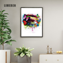 Canvas Painting Wall Art Pictures prints colorful Eye Butterfly No Frame Home Decor Wall Poster Decoration For Living Room L010(China)