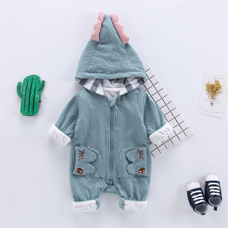 Baby Boy Girl 3D Dinosaur Costume Solid pink blue Rompers warm spring autumn cotton romper cute hooded Playsuit Clothes gentlemen style striped baby boy romper playsuit