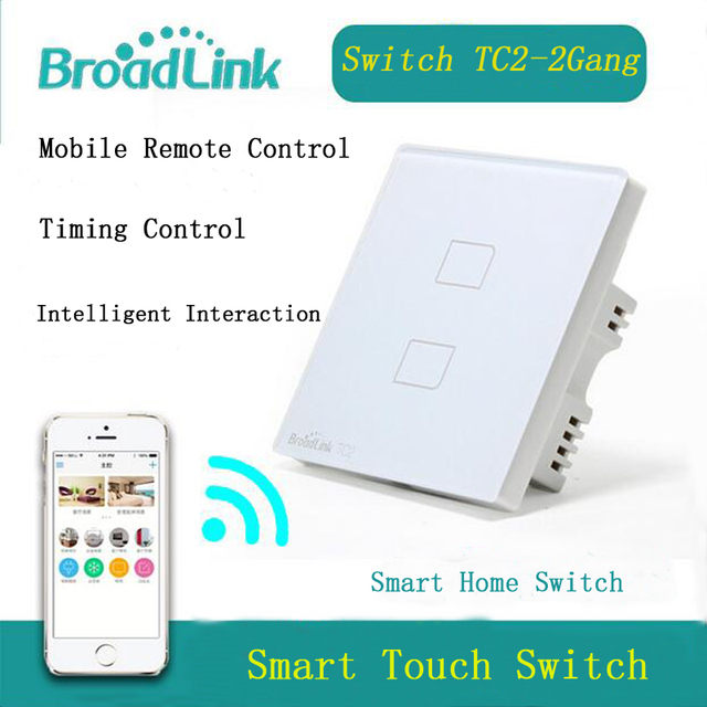 BroadLink EU Standard 2 Gang Wifi Switch, Remote Control Wireless Switch,Touch Panel Light Switch Via Broadlink Rm Pro
