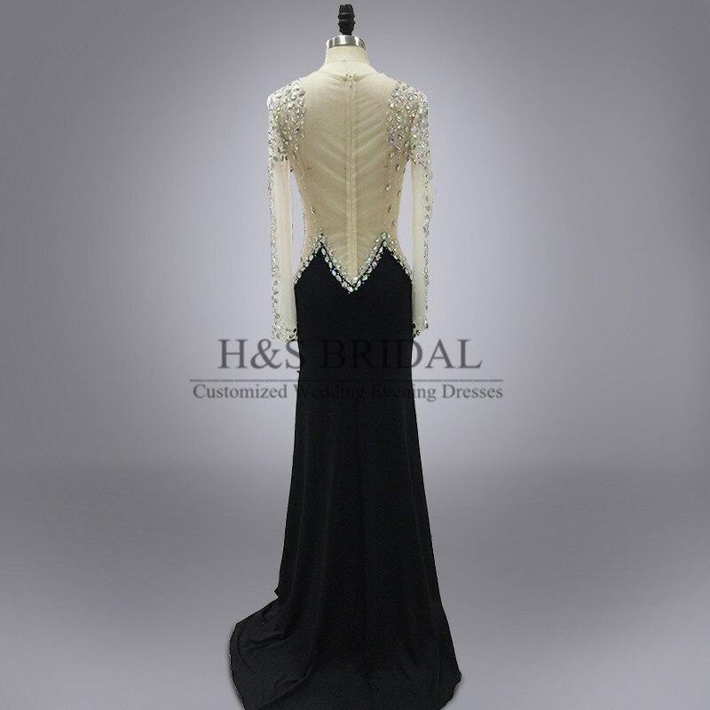 a92494b748 Real foto cuello redondo piedra brillante con cuentas opacidad vestido de fiesta  cristales negro sexy manga larga vestido de noche en Vestidos de noche de  ...