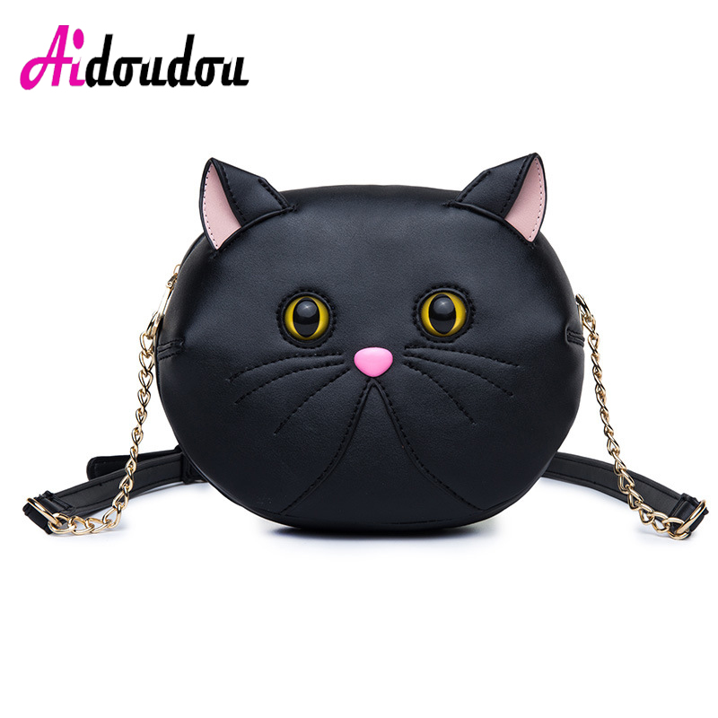 цены ladies handbag black punk 3D cat chain shoulder bag pu leather women messenger crossbody small bag shoulder bag M3002AC