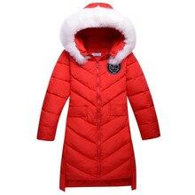 2016 новых девушек пуховик зимой толстые длинные большая девочка пальто дети куртки съемный колпачок меховой воротник верхняя одежда куртка шинель