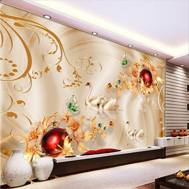 Tapeten wohnzimmer blumen  Beibehang Custom 3d tapeten Diamant Blumen Schwan Seide Tapeten ...