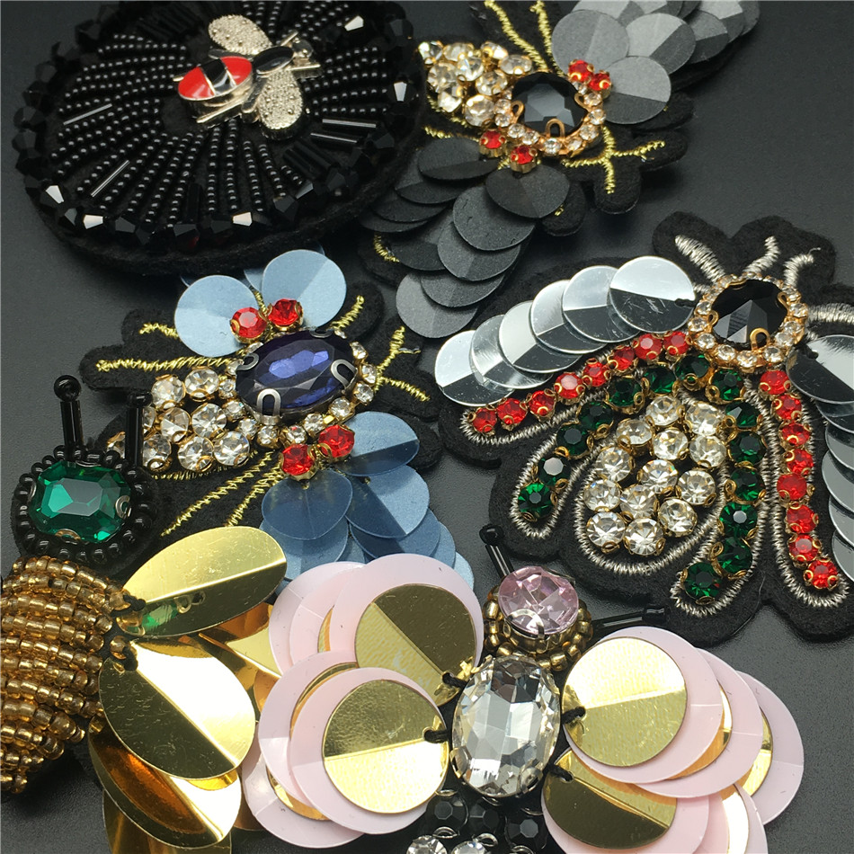 HTB1upbDXdzvK1RkSnfoq6zMwVXab Handmade Rhinestone beaded&sequin Patches, BEES COOL FASHION Sew on Crystal pearl patch for clothes beaded Applique cute patch