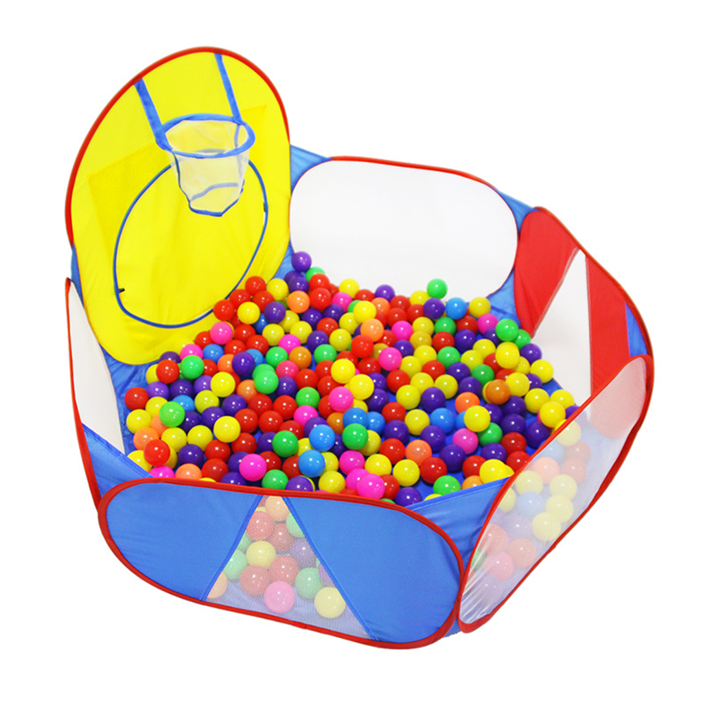 Kids Toddlers Pop-up Playhouse Ball Pit Pool Playpen with Basketball Hoop & Storage Bag - 47 inch x 29 inch, Red Blue