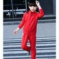 2 шт. дети девушки комплект одежды красный черный малыш девушки спортивная костюмы набор детей школьного одежда брюки пальто установить 2017 новая весна осень