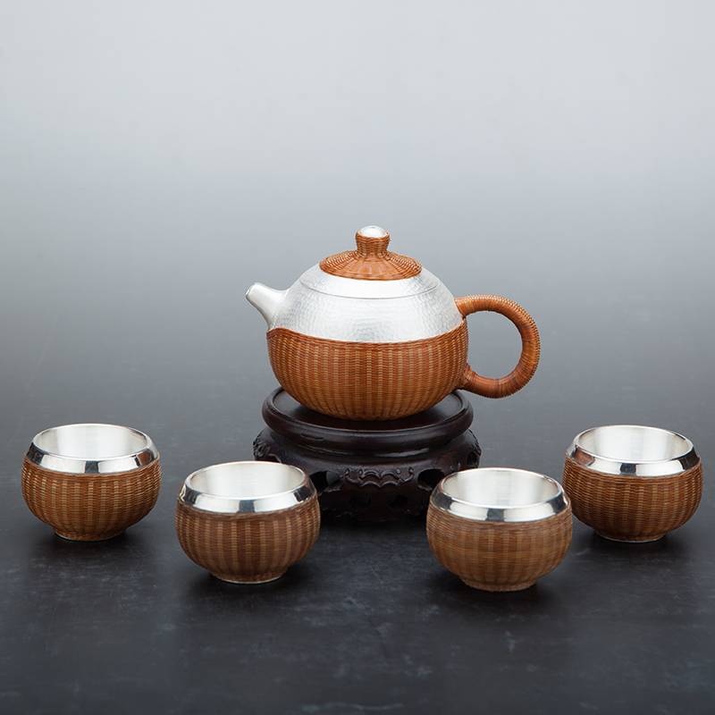 New Pure Silver Teapot Bamboo Knitted Insulation 999 Silver Teapot Tea Ceremony Large Capacity Home Pure Silver Tea Set