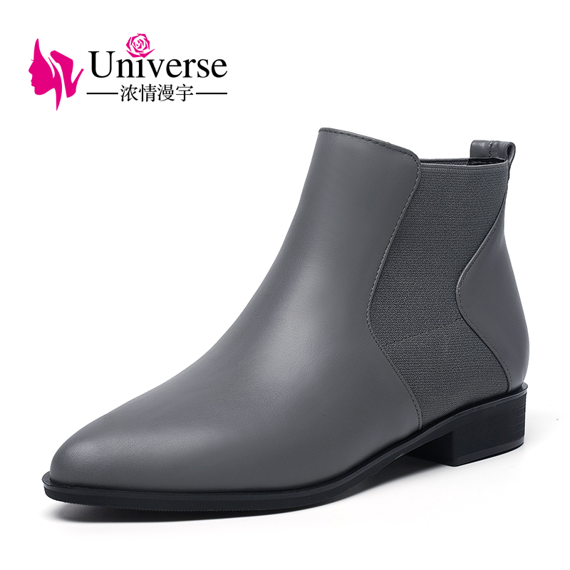 Фотография Universe pointed toe cow leather chealsea boots  women winter shoes low heel black gray color boots G401