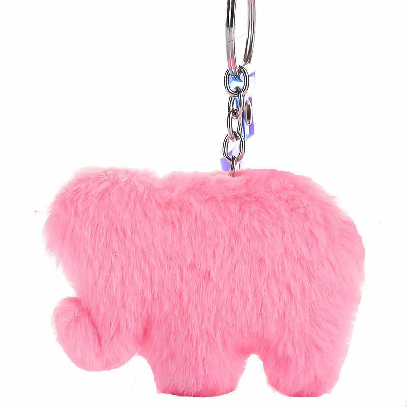 Moda PomPom De Pele Falsa Elefante Chaveiro DIY Corda de Couro Animal Keychain para Mulheres Bolsa Chaveiro Presente Da Jóia