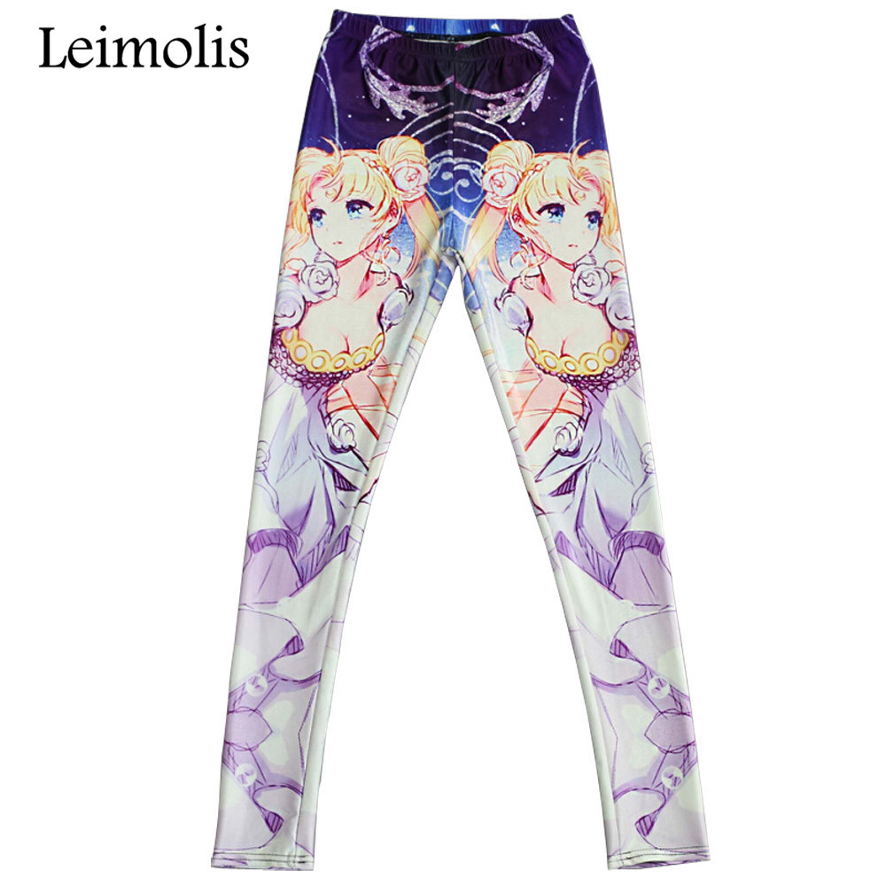 Leimolis 3D Printed Fitness Push Up Workout Leggings Women Cartoon Sailor Moon Plus Size High Waist Punk Rock Pants