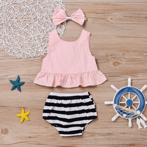 2017 New 3PCS Baby Girls Summer Floral Sleeveless Tops Shorts Headband Set Clothes Outfit 3pcs outfit infantil girls clothes toddler baby girl plaid ruffled tops kids girls denim shorts cute headband summer outfits set
