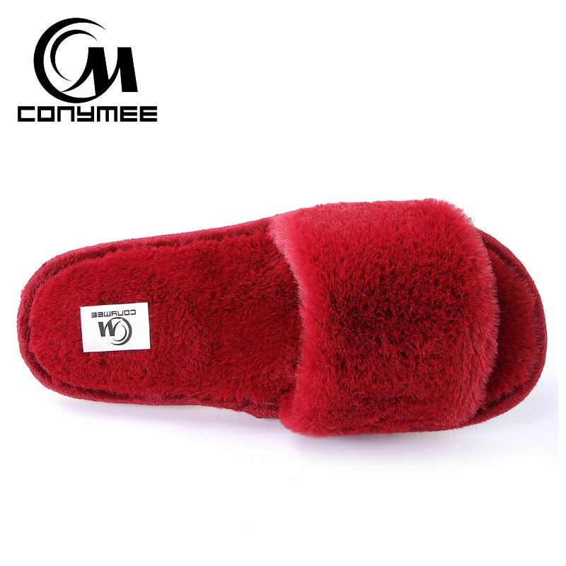 2019 Womens Fur Slippers Winter Shoes Big Size Home Slippers Plush Pantufa Women Indoor Warm Fluffy Terlik Cotton Shoes ZJ-MM 4