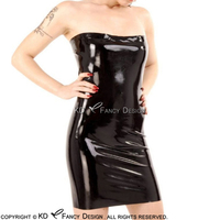 Black Sexy Tube Latex Dress Rubber Bodycon Playsuit Plus Size LYQ 0094