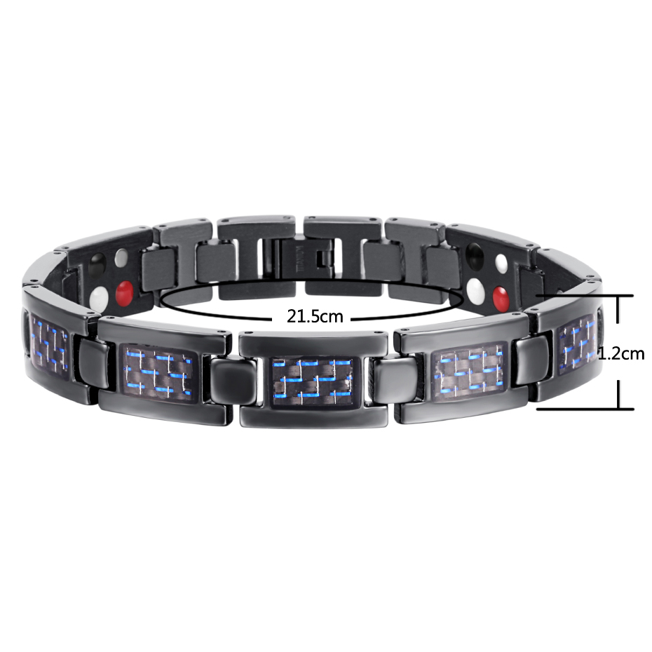 Top Quality Health Care Titanium Bracelet Bangle Magnetic Bracelet Blue Plated Men Jewelry Love Bracelets
